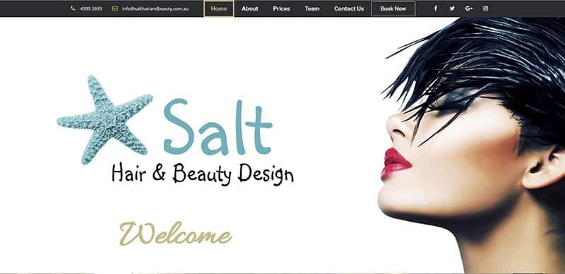 Salt Hair and Beauty Design website