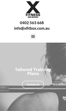 X Fitness and Boxing website on mobile