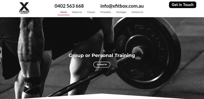 X Fitness and Boxing website
