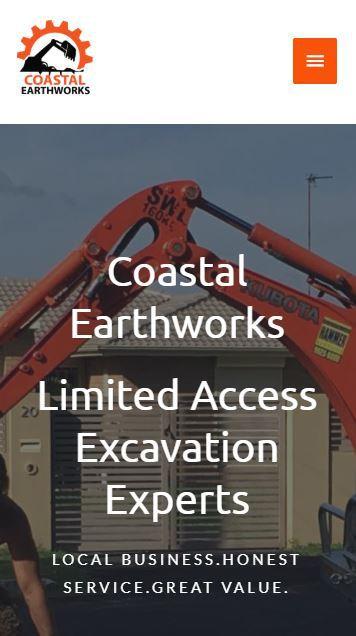image of coastal earthworks website on mobile device