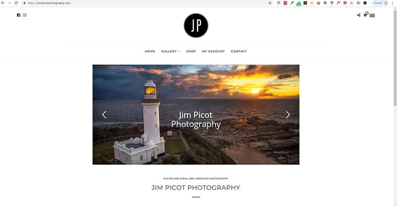 image of jim picot photography website screenshot