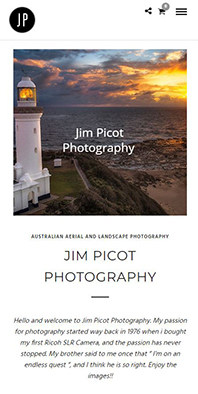 Image of jim picot photography website on mobile phone