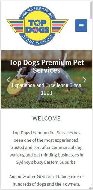 Top Dogs Walking Website Screenshot on Mobile Phone