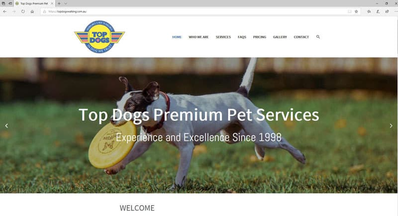 Top Dogs Walking Website Screenshot