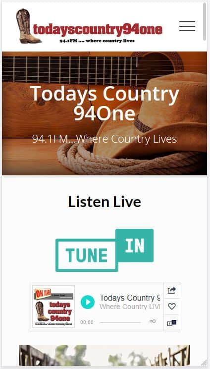 Todays Country 94One Website Screenshot on Mobile Phone