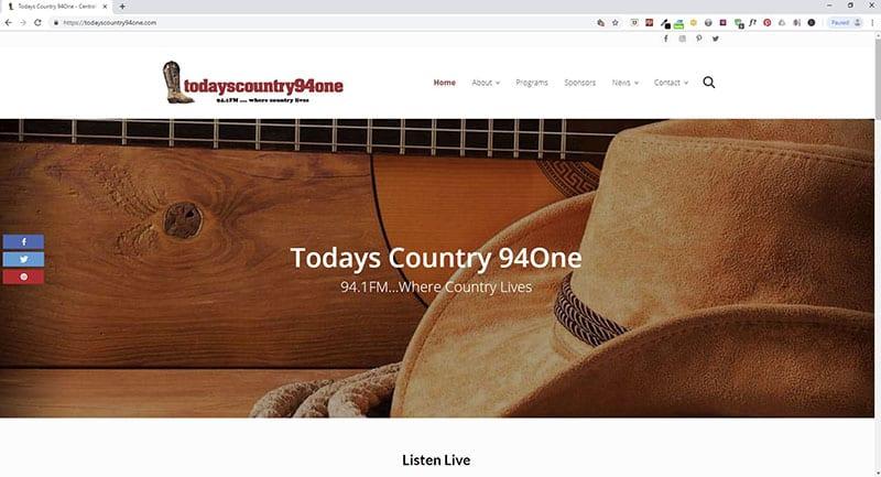 Todays Country 94One Website Screenshot