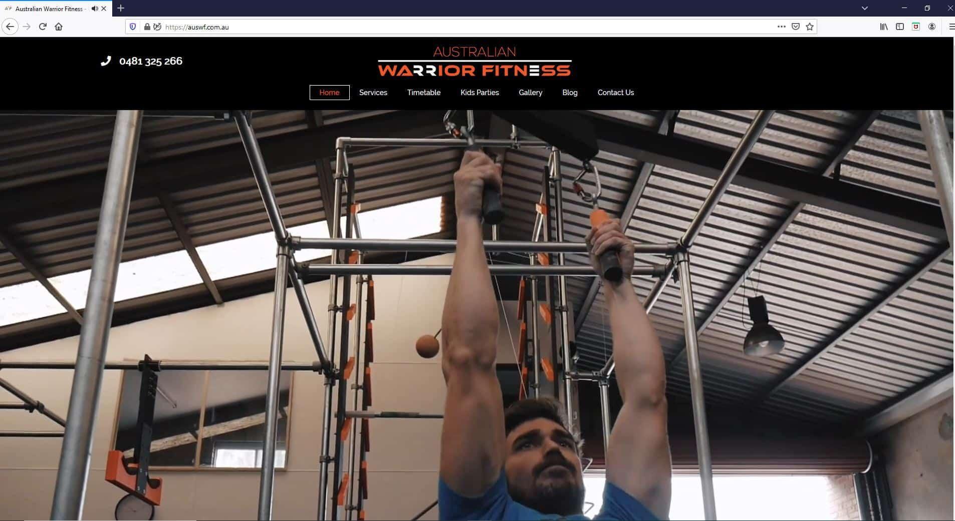 Australian Warrior Fitness Website Screenshot