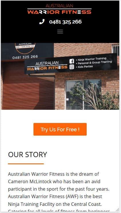 Australian Warrior Fitness mobile Website Screenshot