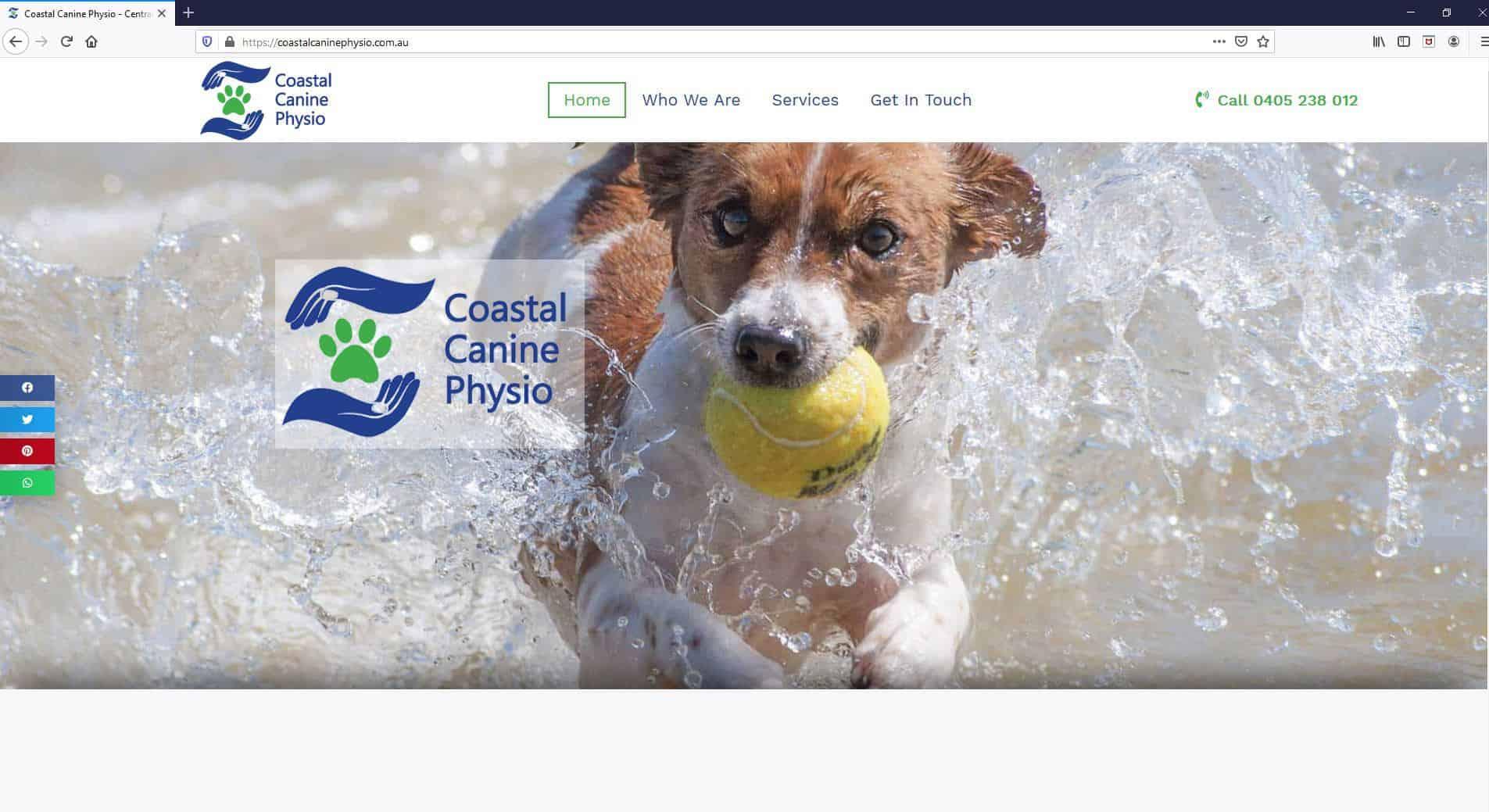 Coastal Canine Physio Website Screenshot