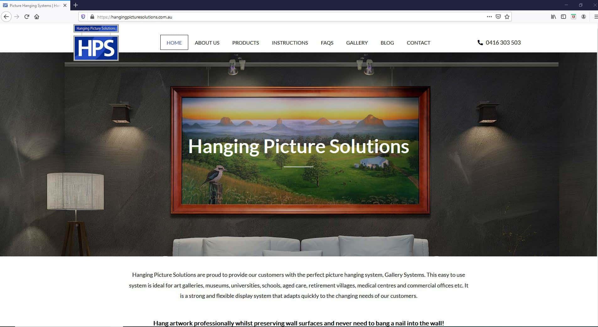 Hanging Picture Solutions Website Screenshot
