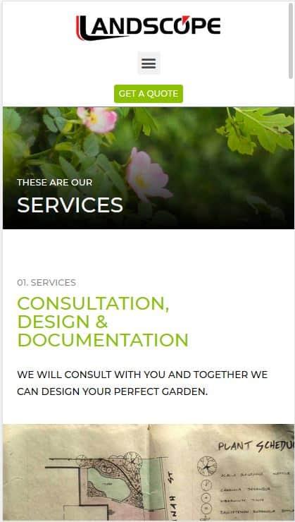 Landscope Constructions Website Screenshot on Mobile Phone