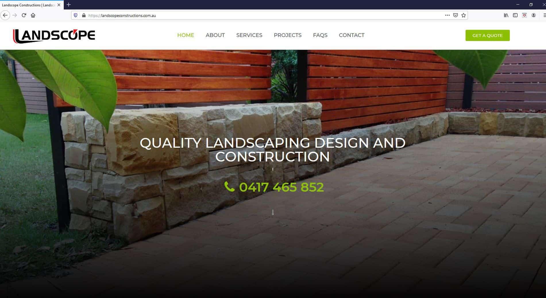 Landscope Constructions Website Screenshot